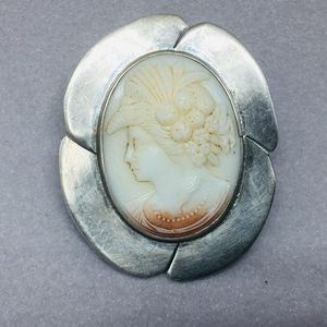 30s MEXICO STERLING SILVER SHELL CAMEO PENDANT/PIN